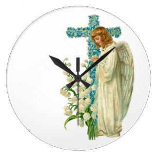 Blue Flowered Christian Cross Wall Clocks