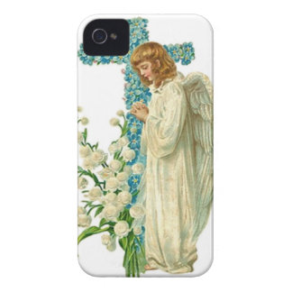 Blue Flowered Christian Cross iPhone 4 Cover