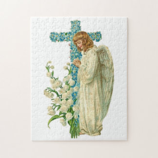 Blue Flowered Christian Cross Jigsaw Puzzle