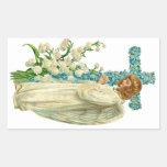 Blue Flowered Christian Cross Rectangular Sticker