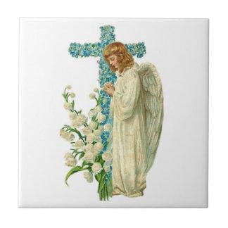 Blue Flowered Christian Cross Small Square Tile