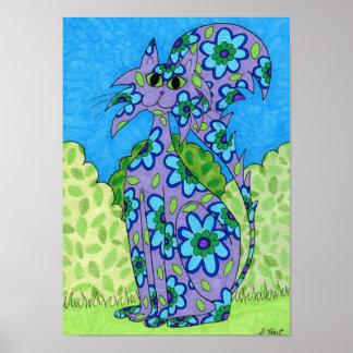 Blue Flowered Purple Cat Folk Art Poster
