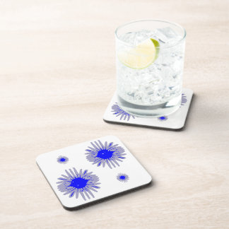 Blue flowers 2 large 2 small in pattern on coaster