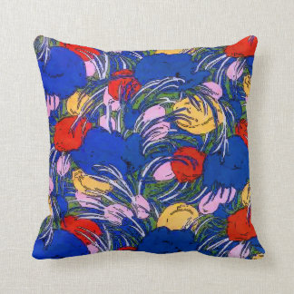 Blue Flowers Abstract Throw Pillow
