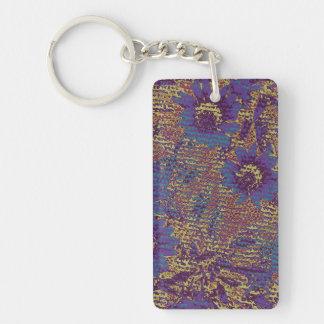 Blue flowers against leaf camouflage pattern Double-Sided rectangular acrylic keychain