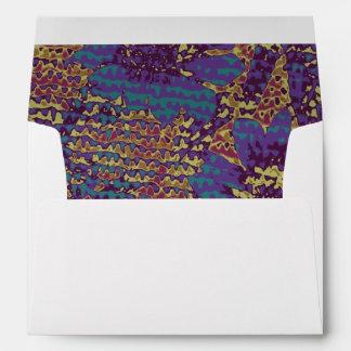 Blue flowers against leaf camouflage pattern envelope