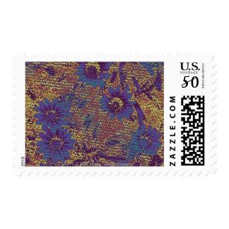 Blue flowers against leaf camouflage pattern postage