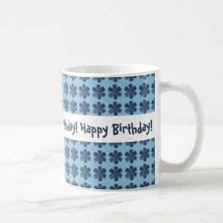 Blue Flowers and Background Happy Birthday Coffee Mug