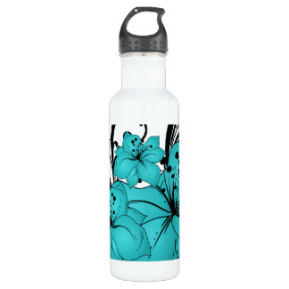 Blue Flowers and Black Scrolls on White 24oz Water Bottle