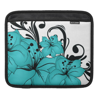 Blue Flowers and Black Scrolls on White Sleeve For iPads