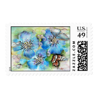 Blue Flowers and Butterfly  Postage Stamp