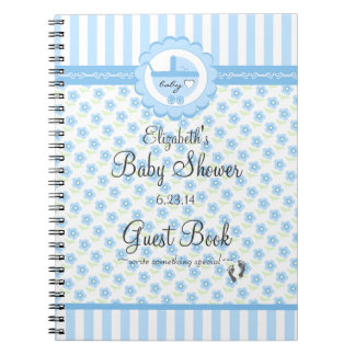 Blue Flowers and Carriage-Baby Shower Guest Book- Notebooks