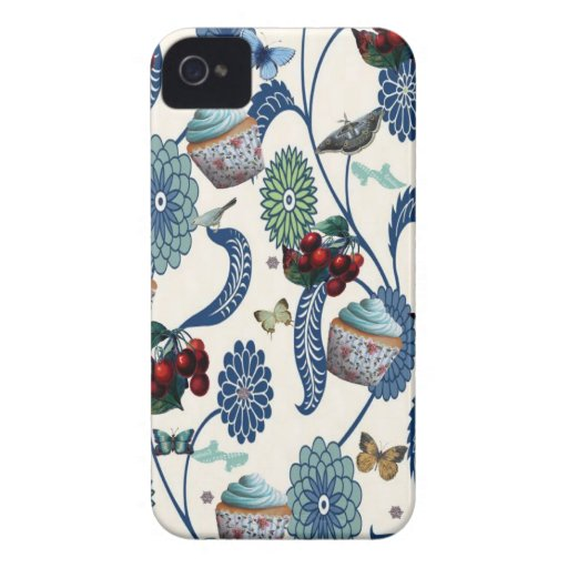 Blue Flowers and Cupcakes iPhone 4 Covers