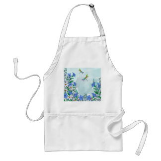 Blue flowers and dragonflies adult apron