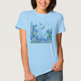Blue flowers and dragonflies t shirt