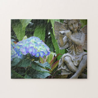 Blue Flowers and Fairy Statue Jigsaw Puzzle