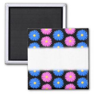 Blue Flowers and Pink Flowers Pattern Refrigerator Magnets