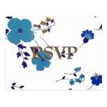 Blue Flowers Art Postcard