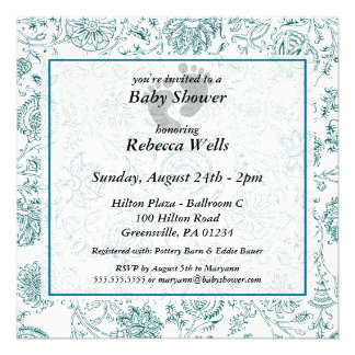 Blue Flowers Baby Shower Invitations