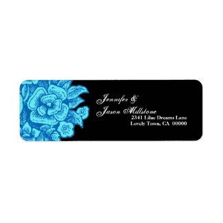 BLUE Flowers Black Background Address Label
