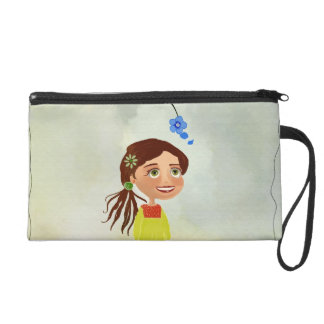 blue flowers cartoon girl Bagettes Bag Wristlet Clutch