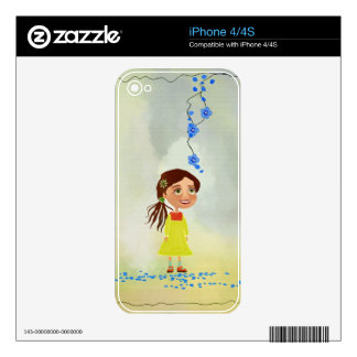 blue flowers cartoon girl iPhone 4/4S Skin For iPhone 4S