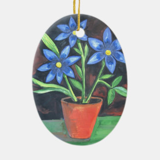 Blue Flowers Ceramic Ornament