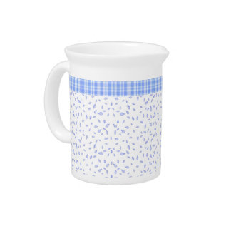 Blue flowers & checkered - Circular Drink Pitcher