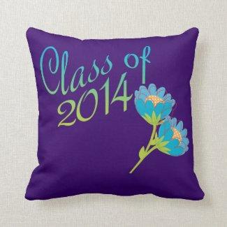 Blue Flowers Class of 2014 Pillows