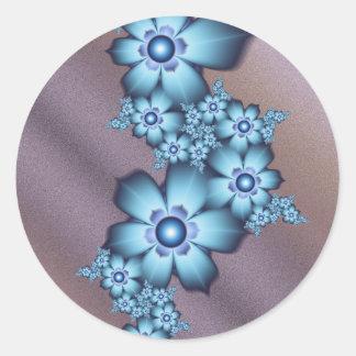Blue flowers classic round sticker
