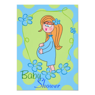 Blue Flowers Cute Baby Shower Invitations
