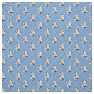 Blue Flowers & Daisies w/ Blue Background Fabric