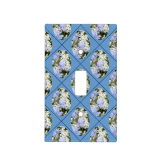 Blue Flowers & Daisies with Blue Background Switch Plate Covers