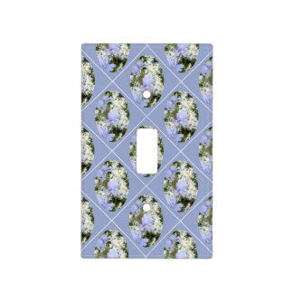 Blue Flowers & Daisies with Orchid Background Light Switch Cover