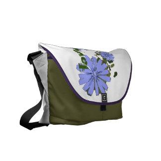 blue flowers farrowed messenger bag