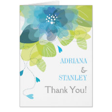 Blue flowers floral spring wedding Thank You photo Card
