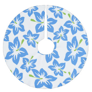 Blue Flowers Floral Trendy Pattern Brushed Polyester Tree Skirt
