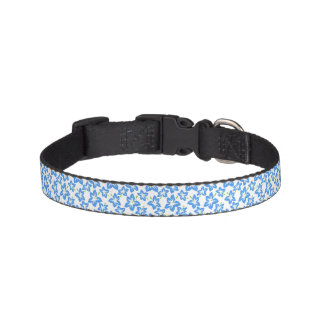 Blue Flowers Floral Trendy Pattern Pet Collar