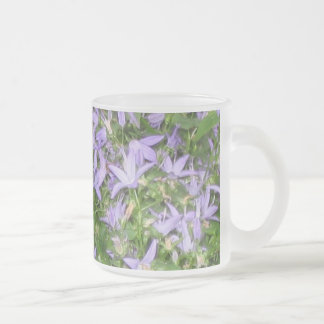 Blue flowers frosted glass coffee mug