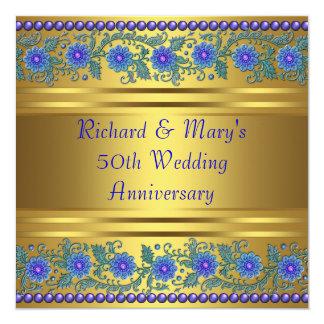 Blue Flowers Gold 50th Wedding Anniversary Card