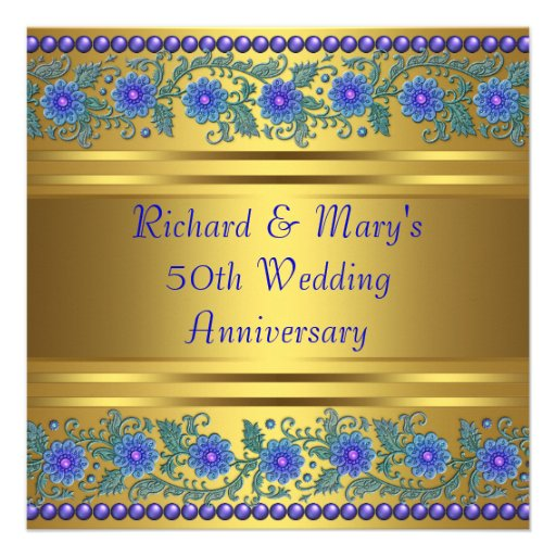 Blue Flowers Gold 50th Wedding Anniversary Square Paper