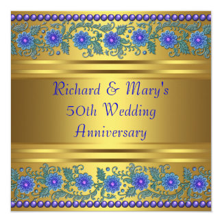 "Blue Flowers Gold 50th Wedding Anniversary 5.25"" Square Invitation Card"