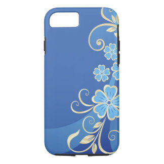 Blue Flowers Gold Leaves Elegant Swirl iPhone 7 Case