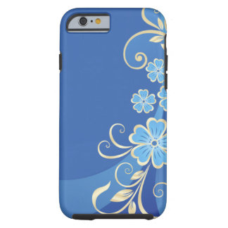 Blue Flowers Gold Leaves Elegant Swirl Tough iPhone 6 Case