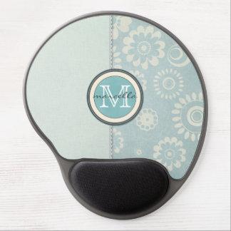 blue flowers half monogram gel mouse pad