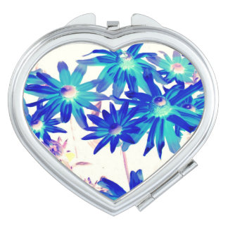 Blue flowers Heart Compact Mirror