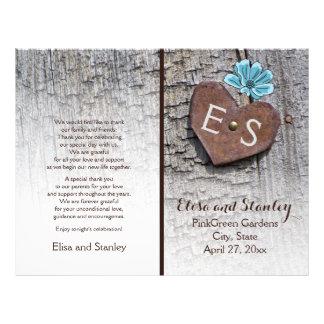 Blue flowers & heart on wood wedding program