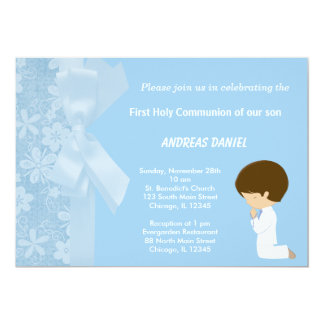 "Blue Flowers Holy Communion 5"" X 7"" Invitation Card"