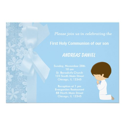 Blue Flowers Holy Communion Personalized Invite