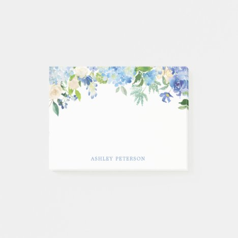 Blue Flowers hydrangea Personalized Post-it Notes